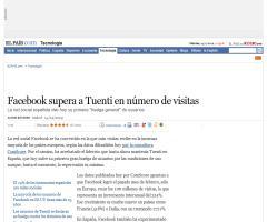 Facebook supera a Tuenti en número de visitas- ELPaís 15/04/09