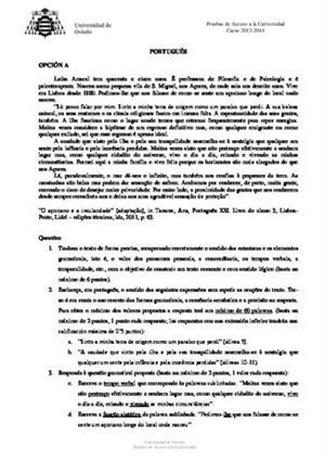 Examen de Selectividad: Portugués. Asturias. Convocatoria Junio 2014