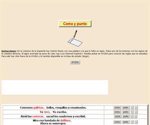 La coma y el punto, ortografía interactiva.