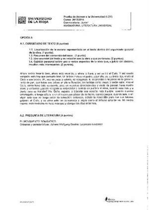Examen de Selectividad: Literatura universal. La Rioja. Convocatoria Junio 2014