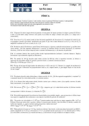 Examen de Selectividad: Física. Galicia. Convocatoria Junio 2013