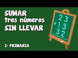Sumas de tres números de dos cifras cada uno sin llevadas. Mundo Primaria