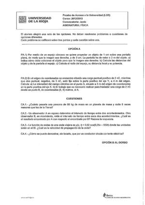 Examen de Selectividad: Física. La Rioja. Convocatoria Junio 2013