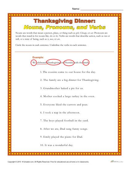 Thanksgiving Dinner: Nouns, Pronouns and Verbs