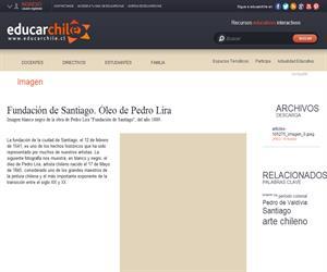 Fundación de Santiago. Óleo de Pedro Lira (Educarchile)
