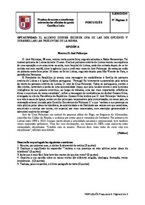 Examen de Selectividad: Portugués. Castilla y León. Convocatoria Junio 2014
