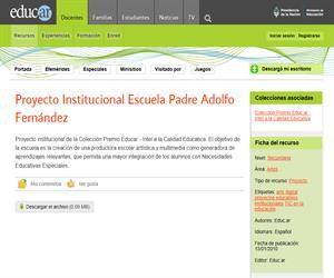 Proyecto Institucional Escuela Padre Adolfo Fernández