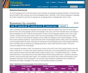 Ethnologue: Languages of the World. Catalogación actualizada de  las lenguas mundiales