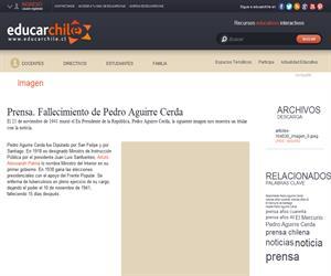 Prensa. Fallecimiento de Pedro Aguirre Cerda (Educarchile)