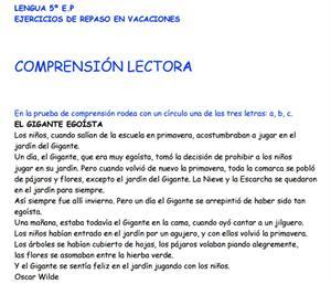 Ejercicios de repaso en vacaciones: comprensión lectora y lengua española