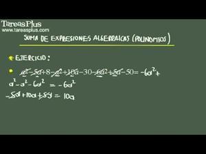 Suma de expresiones algebraicas problema 6 de 15 (Tareas Plus)