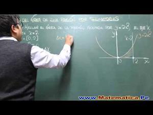 Cálculo del área por sumatorias. Sumas de Rieman.. Problema resuelto.