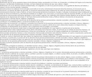 Declaración sobre los derechos de las personas pertenecientes a minorías nacionales o étnicas, religiosas y lingüísticas