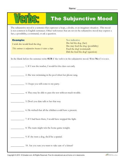 Verbs: The Subjunctive Mood
