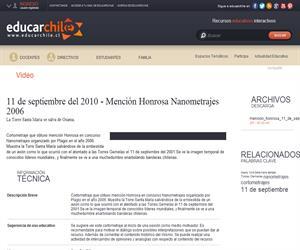 11 de septiembre del 2010 - Mención Honrosa Nanometrajes 2006 (Educarchile)