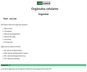 Test sobre orgánulos celulares