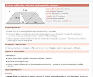 Áreas de rectángulos, cuadrados, paralelogramos y triángulos