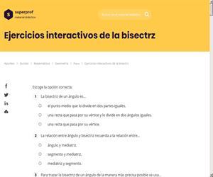 Ejercicios interactivos de la bisectriz