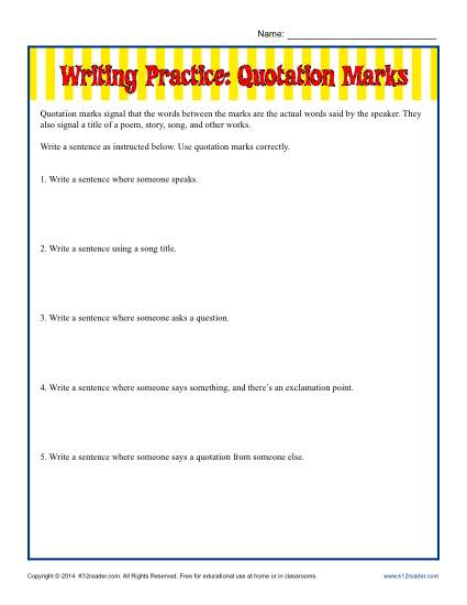 Writing Practice: Quotation Marks
