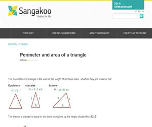 Perimeter and area of a triangle