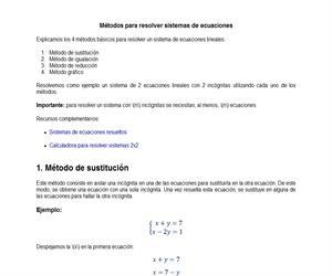 Métodos básicos para resolver sistemas de ecuaciones
