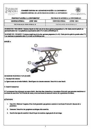 Examen de Selectividad: Tecnología industrial. Comunidad Valenciana. Convocatoria Junio 2014