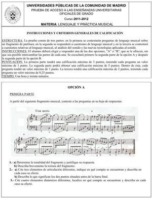 Examen de Selectividad: Lenguaje y Práctica Musical. Comunidad de Madrid. Convocatoria Junio 2012
