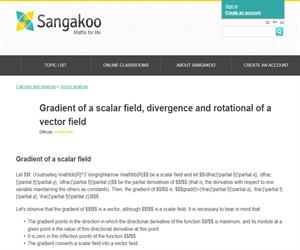 Gradient of a scalar field, divergence and rotational of a vector field