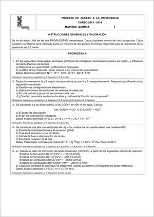 Examen de Selectividad: Química. Comunidad Canaria. Convocatoria Junio 2014