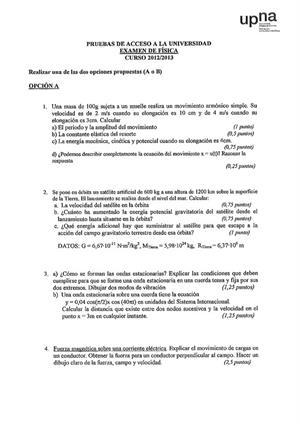 Examen de Selectividad: Física. Navarra. Convocatoria Junio 2013