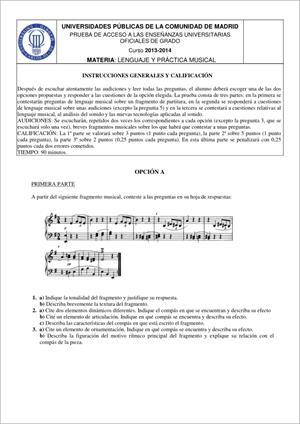 Examen de Selectividad: Lenguaje y práctica musical. Madrid. Convocatoria Junio 2014