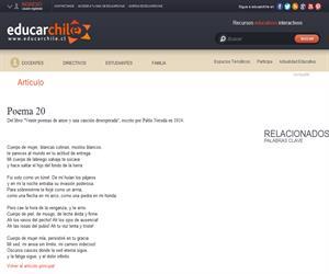 Poema 20 de Neruda (Educarchile)