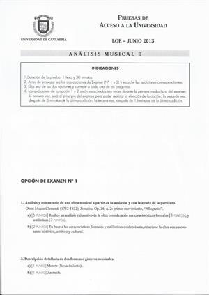 Examen de Selectividad: Análisis musical. Cantabria. Convocatoria Junio 2013