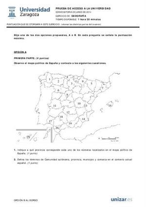 Examen de Selectividad: Geografía. Aragón. Convocatoria Junio 2014