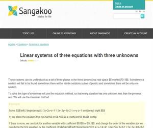 Linear systems of three equations with three unknowns