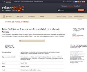 Jaime Valdivieso. La creación de la realidad en la obra de Neruda (Educarchile)