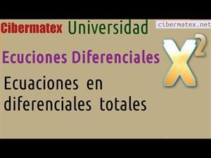 Ecuaciones en diferenciales totales. Cibermatex