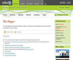 Río Negro. Formación docente en Argentina