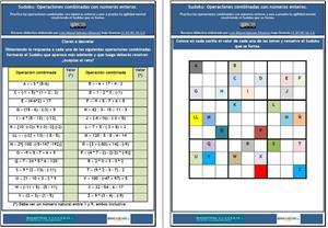 Sudoku: Operaciones combinadas con números enteros (MatemáTICas de Wikisaber)