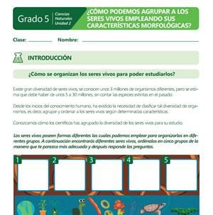 ¿Cómo podemos agrupar a los seres vivos empleando sus características morfológicas? Material Imprimible (Colombia Aprende)