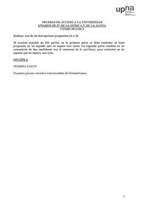 Examen de Selectividad: Historia de la música y la danza. Navarra. Convocatoria Junio 2013