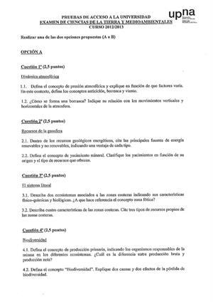 Examen de Selectividad: Ciencias de la Tierra. Navarra. Convocatoria Junio 2013