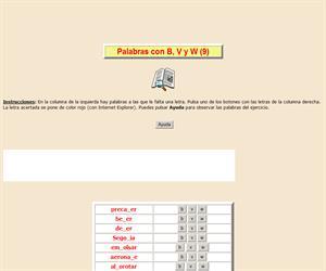 Palabras con B, V y W (IX), ortografía interactiva