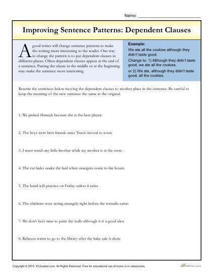 Sentence Patterns: Dependent Clauses