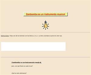 Zambomba es instrumento, lectura comprensiva interactiva