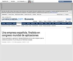 Una empresa española, finalista congreso mundial de aplicaciones. La Vanguardia. 11/06/2013