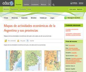 Mapas de actividades económicas de la Argentina y sus provincias