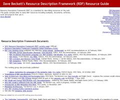 Dave Beckett's Resource Description Framework (RDF) Resource Guide