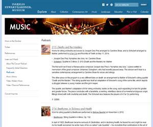 Podcasts de música clásica (Isabella Stewart Gardner Museum)