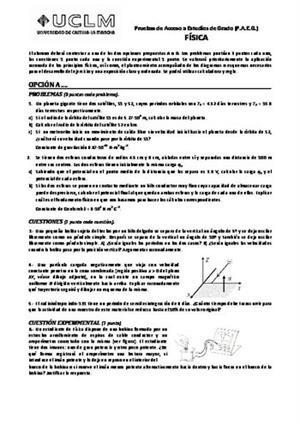 Examen de Selectividad: Física. Castilla-La Mancha. Convocatoria Junio 2014
